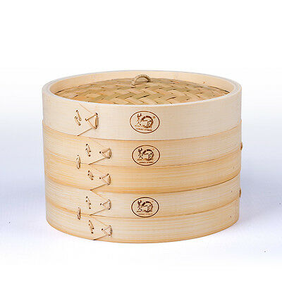 3-PIECE BAMBOO STEAMER SET WITH LID BUN MOUTOU DUMPLING DIMSUM BASKET 7-INCH, used for sale  China