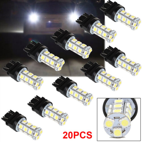 10 x 3157 White 18SMD 5050 Reverse Back Up Tail Brake Stop Turn LED Light Bulbs