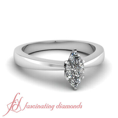 1 Carat Marquise Very Good Cut Diamond Solitaire Engagement Ring GIA Certified