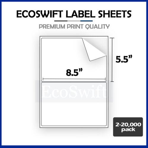 2-20,000 8.5 x 5.5 EcoSwift Shipping Half-Sheet Self-Adhesive eBay PayPal Labels