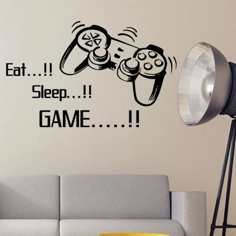 Eat Sleep Game Wall Decals Removable DIY Lettering Wall Stic