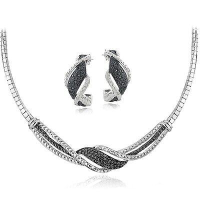 0.50ct TDW Black & White Diamond Twist Omega Necklace Earrings Set in Brass