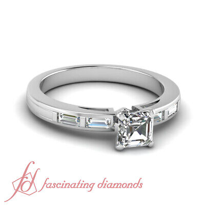 1.15 Ct Asscher Cut And Baguette Diamond Engagement Ring In 14K White Gold GIA