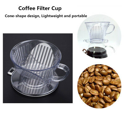 Reusable Cone Shape Coffee Maker Filter Cup Dripper Pour Over Serving Mug 2Color