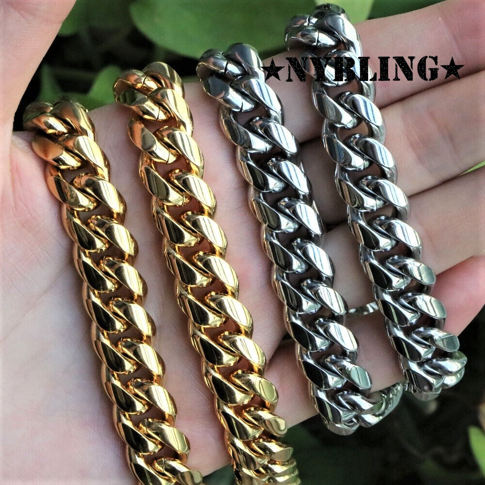 Mens Miami Cuban Link Chain 14k Gold Plated Stainless Steel Necklace or Bracelet