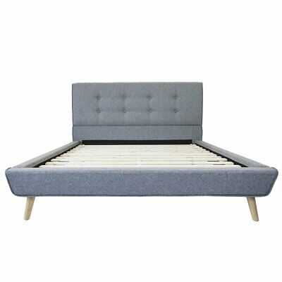 Grey Linen Low Profile Platform Bed Frame with Tufted Headbo