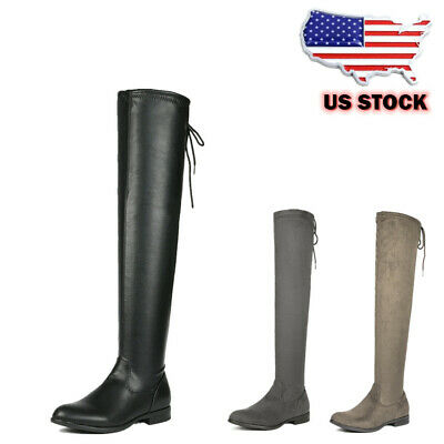 Womens Fashion Over The Knee Boots Low Heel Lace up Flat Win