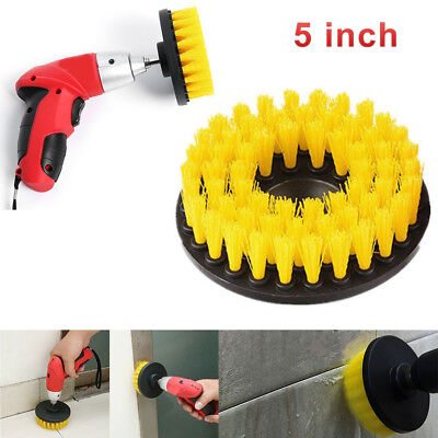 5 Inch Drill Brush For Car Carpet Wall And Tile Cleaning Yellow Medium Duty New