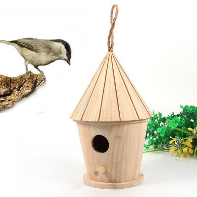 Hanging Decorative Birdhouse - Wooden Bird House Birdhouse Hanging Nest Nesting Box W/ Hook Home Garden Decor