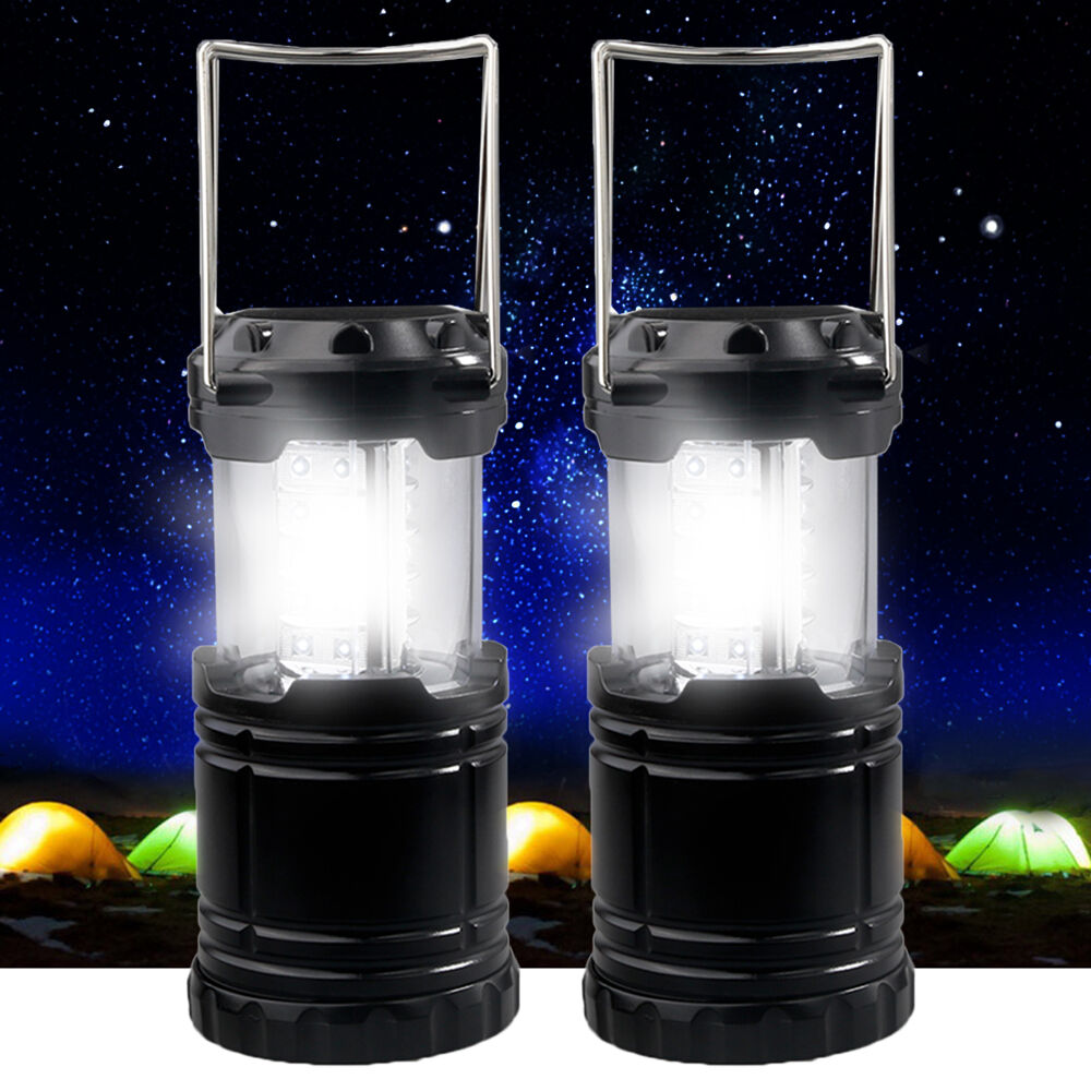 2p x 30 LED Camping Lantern Portable Collapsible Light Outdoor Hiking Work Lamp