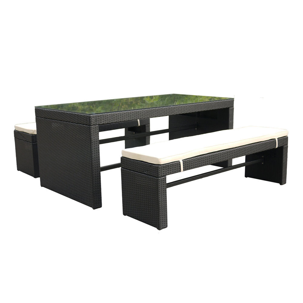 Bequia Bench Outdoor Patio Dining and Picnic Table Set - Var