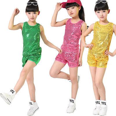 Sequined Hip Hop Dance wear for Girls Children's Jazz Modern Dance Costume - Costumes For Hip Hop