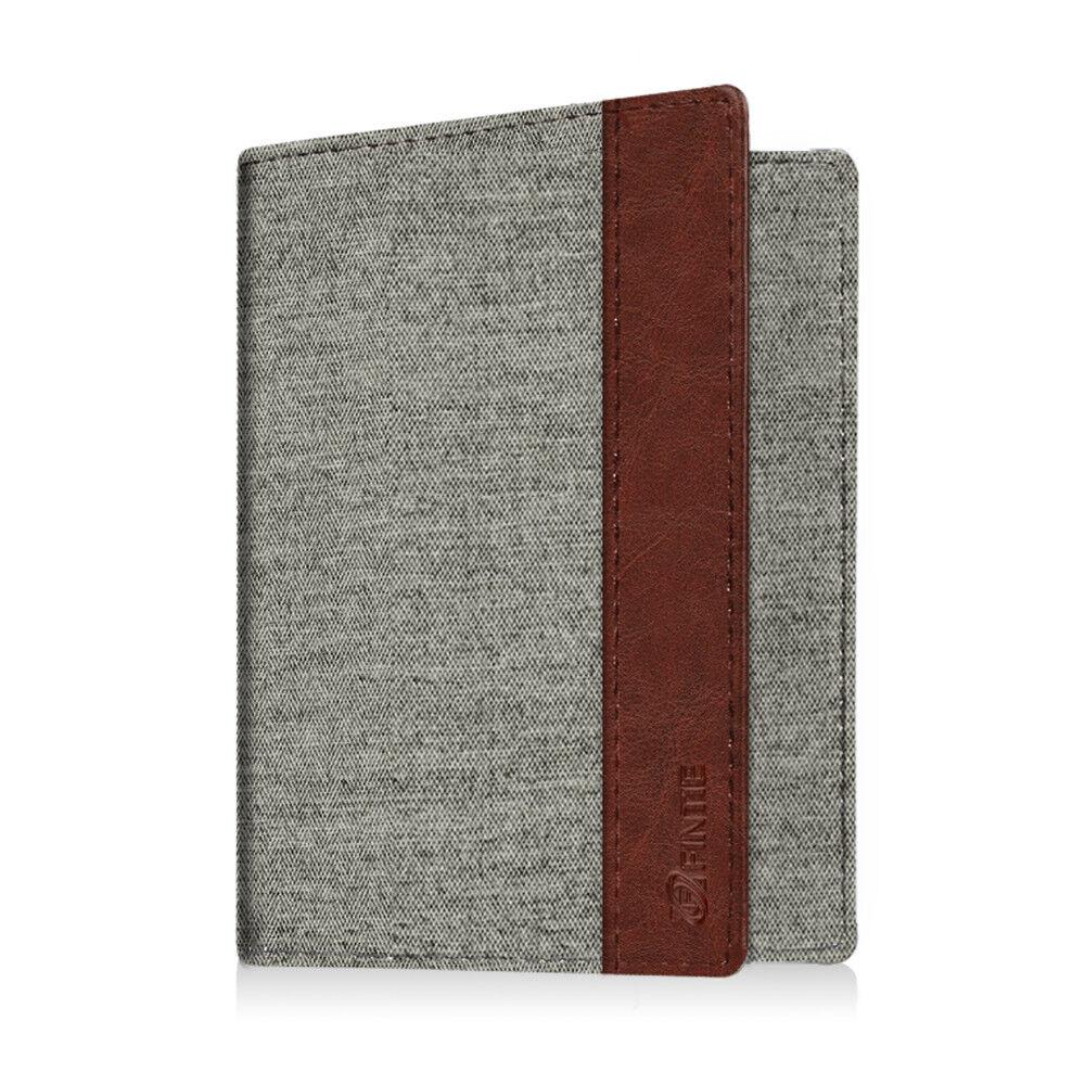 Travel Passport Holder Wallet Holder RFID Blocking Vegan Leather Card Case Cover Denim Grey