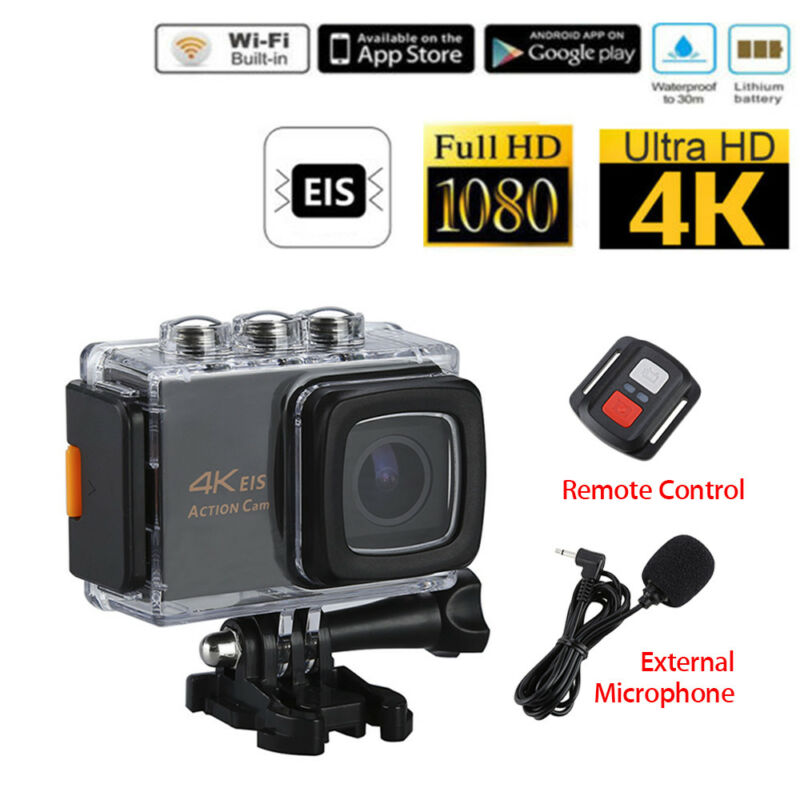 EIS 4K Wi-Fi 20MP 30fps/1080P Sports Action Camera +Microphone+Remote Controller
