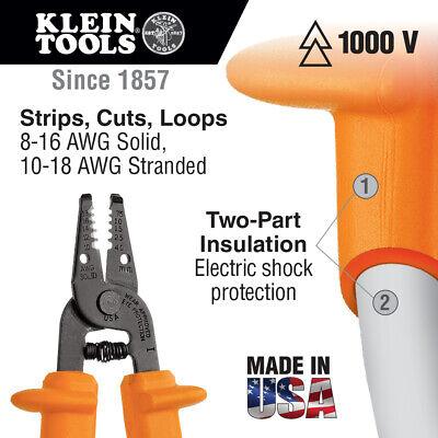 Klein Tools 11055-ins Insulated Kurve Wire Strippercutter Orange