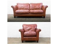 QUALITY GENUINE RUST BROWN LEATHER SOFA & ARMCHAIR SUITE FREE DELIVERY