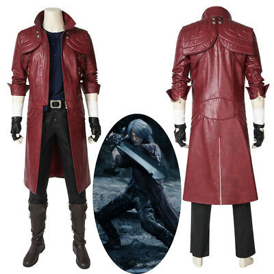 New Devil May Cry V DMC 5 Dante Cosplay Costume Red Leather Coat (Dmc 5 Kostüm)