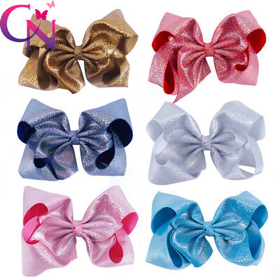 7Inch Girls Large Leather Hair Bow Colorful Laser Ribbon Hairclips For Kids Gift