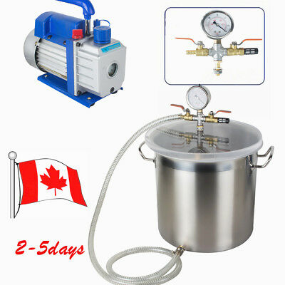 5Gallon Stainless steel Vacuum Degassing Chamber Silicone +3 CFM Pump Hose 2019, used for sale  Canada