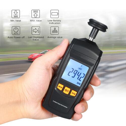 Handheld Digital LCD Contact Tachometer Rotate Speed Meter Tach RPM Speedometer