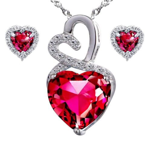 Created Ruby Lovely Heart Pendant Necklace Earring Set St...