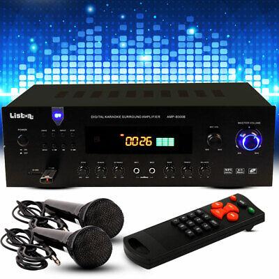 Pa Música Planta Amplificador Bluetooth MP3 USB Radio Control Remoto 2 Micrófono