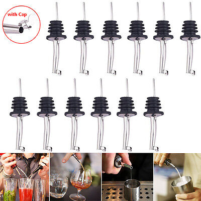 12pcs Stainless Steel Wine Bottle Spout Stopper Flow Liquor Spirit Pourer Wcap