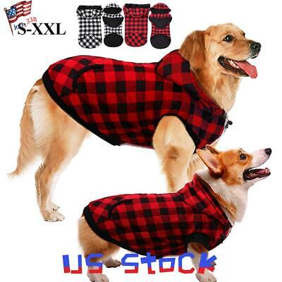 Pet Costume For Dogs (Winter Large Dogs Jacket Pet Costume Plaids Printed Vests Warm Outfit Cotton)