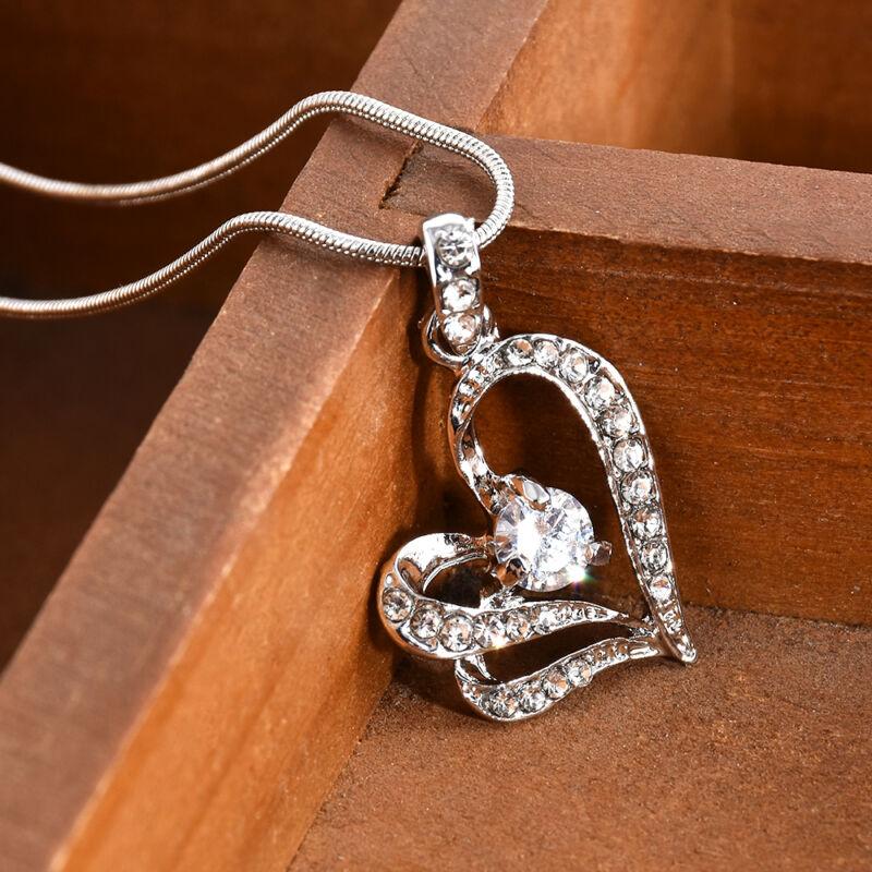 Women's Crystal Heart Rhinestone Silver Chain Pendant Neckla
