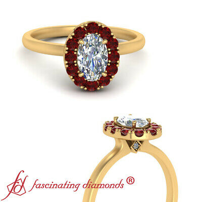 Yellow Gold Halo Oval Shape Diamond And Ruby Gemstone Engagement Ring 0.90 Carat