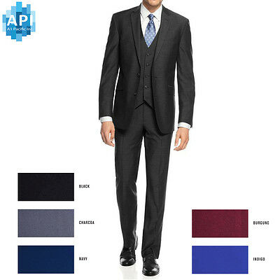 New Men's Formal Slim Fit 3 piece Suit two button solid color Jacket pants PYS03