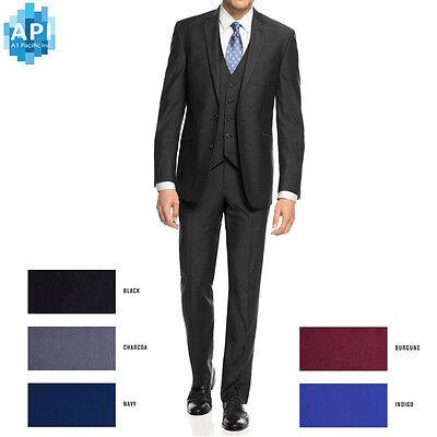 New Men S Formal Slim Fit 3 Piece Suit Two Button Solid Color Jacket Pants Pys03