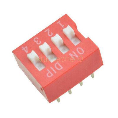 10pcs Slide Type Switch Module 2.54mm 4-bit 4 Position Way Dip Red Pitch