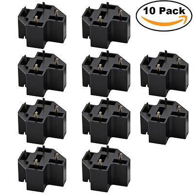 10pcs Pcb Relay Socket 40a 4 Pin Connector Pc Board Base Mount Terminals Spst