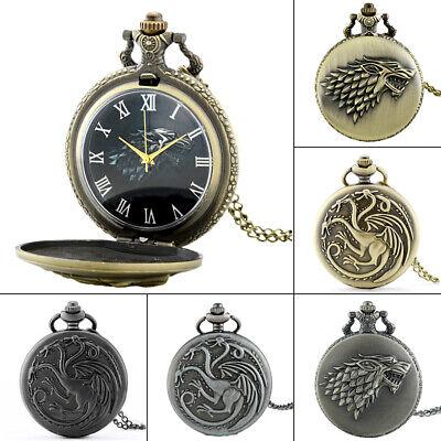 Vintage Full Hunter Pocket Watch Game Of Thrones Retro Quartz Necklace Chain NEW