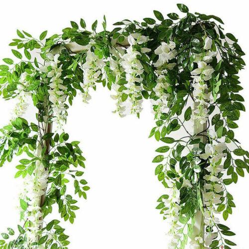 Home Decoration - 2X7FT Artificial Wisteria Vine Garland Foliage Plant Trailing Flower Home Decor