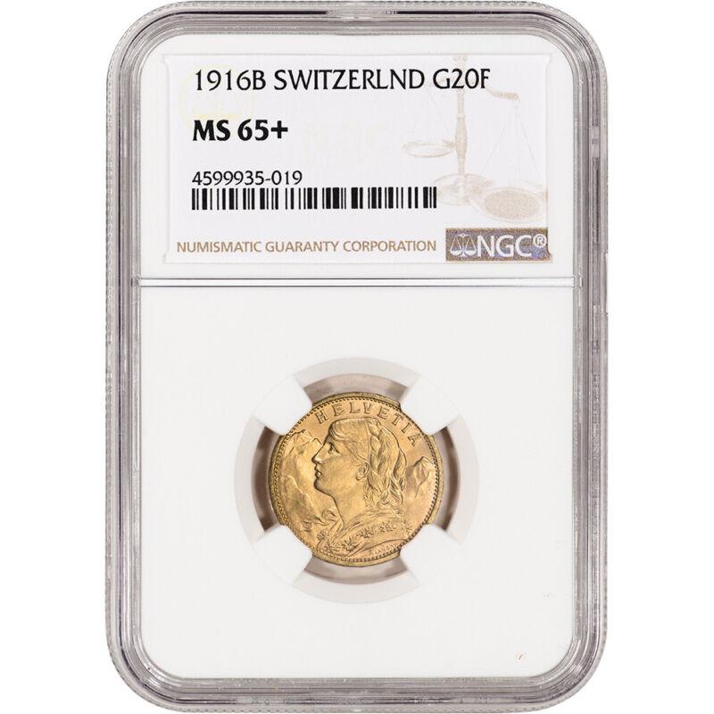 1916 B Switzerland Gold 20 Francs - NGC MS65+