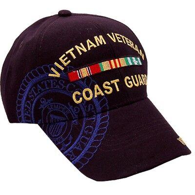 US Coast Guard Vietnam Veteran RIBBONS Ball Cap Vet Hat USCG Shadow Embroidered