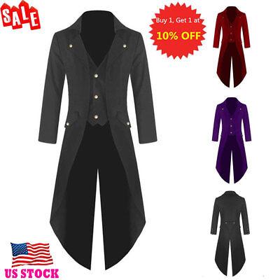 US Men Retro Steampunk Gothic Tailcoat Jacket Ringmaster Long Tail Coat Overcoat - Mens Ringmaster Jacket