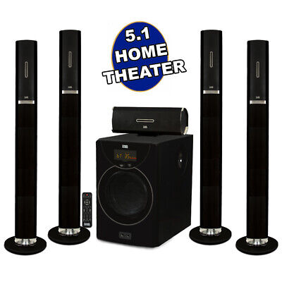 Acoustic Audio AAT2002 Tower 5.1 Bluetooth Home Speaker Syst