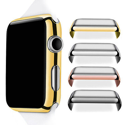 For Apple Watch 1/2/3/4 38/42mm Full Body Cover Snap Metal Case+Screen Protector