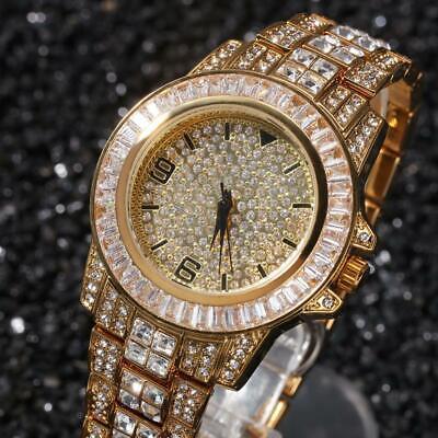 Iced Out Watch Designer Hip Hop Bustdown Bling Bling Wristwear Baguette Bezel