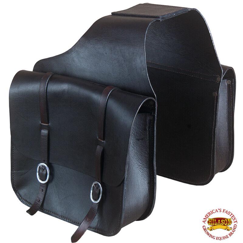 Horse Western Saddle Bag Heavy Duty Leather Cowboy Trail Ride Dark Brown U-G120