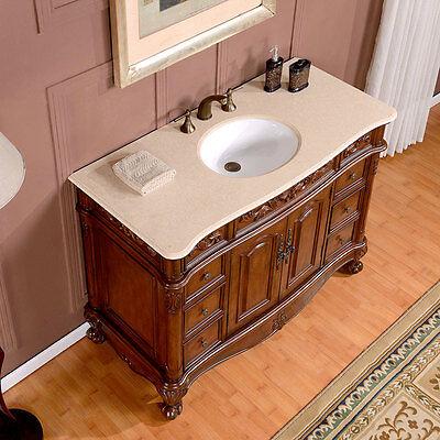 "48"" Gorgeous Marble Stone Top Ceramic Single Sink Bathroom Vanity Cabinet 250CM"