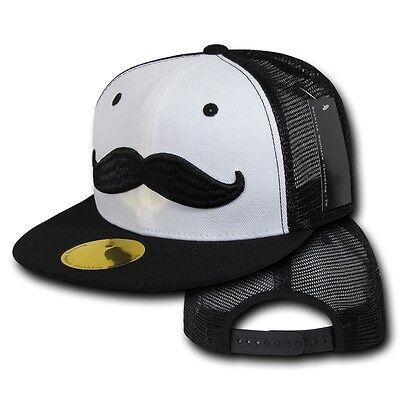 Black & White Mesh Moustache Mustache Trucker Style Flat Bill Snapback Cap Hat](Trucker Mustache)