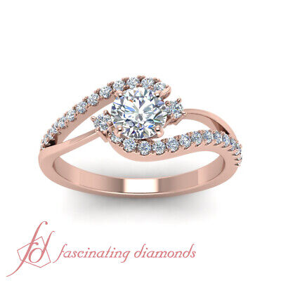 1 Carat Round Cut Diamond Three Stone Bypass Engagement Ring In 14K Rose Gold 1