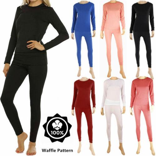 Womens 100% Cotton Top & Bottom 2PC Set Waffle Knit Thermal Long Johns Underwear