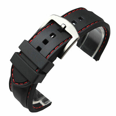 Red Rubber Strap (Black Silicone Rubber Watch Strap Band Waterproof Watchband Red Line Stitching)