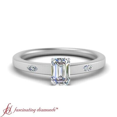 .75 Carat Emerald Cut VS2 Diamond Three Stone Engagement Ring In 18K White Gold