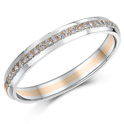 3mm 9ct Two Colour Eternity Ring Rose & White Gold 15 Point Diamond Ring